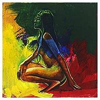 'Emancipation of a Woman' - Colorful Expressionist Painting of the Female Form from Bali