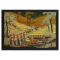 Batik painting, 'Harvest Time' - Signed Batik Painting of Rice Farmers from Bali