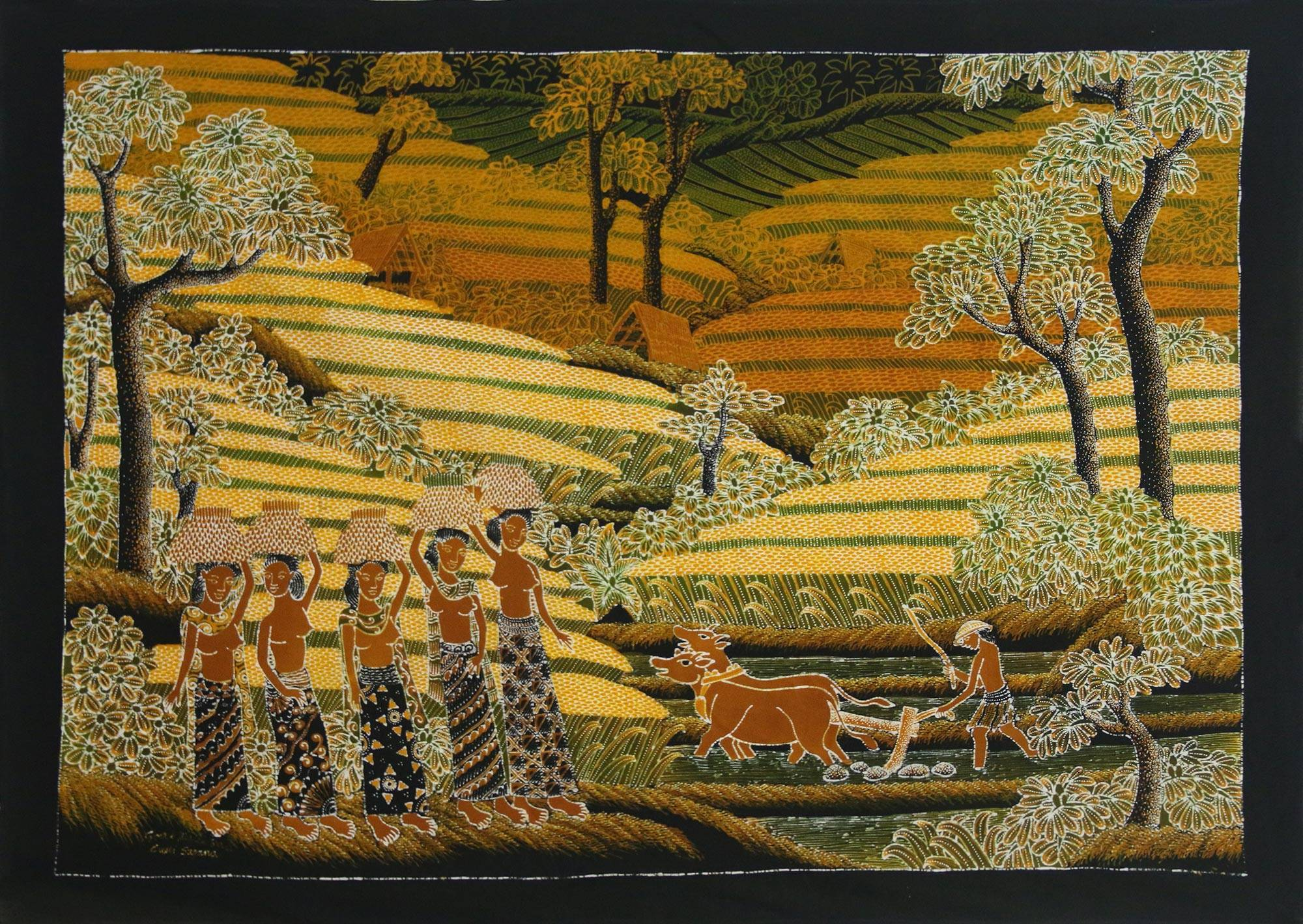 Signed Batik Painting of Rice Farmers from Bali - Harvest Time | NOVICA
