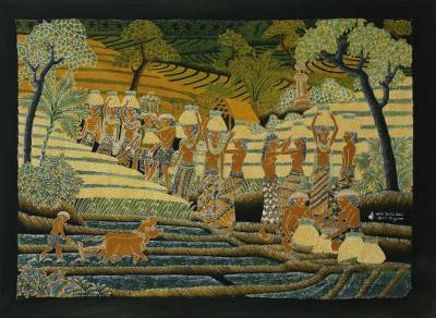 Batik painting, 'Farmer's Passion' - Signed Batik Painting of Rice Farmers from Bali
