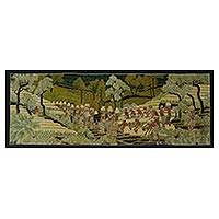 Batik painting, 'Rice Field Beauty' - Signed Batik Painting of Rice Farmers from Bali