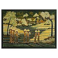 Batik painting, 'Farming Life' - Signed Batik Painting of Rice Farmers from Bali