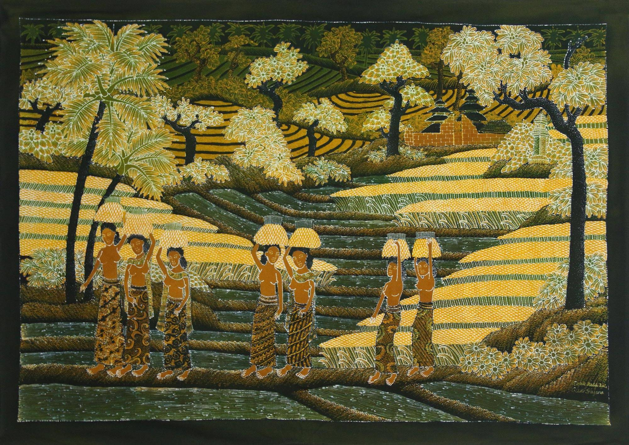 Signed Batik Painting of Rice Farmers from Bali - Farming Life | NOVICA