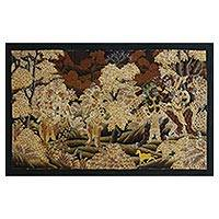 Batik painting, 'Deer Trick' - Signed Batik Painting of Hindu Ramayana Scene from Bali