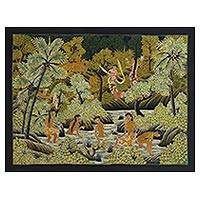Batik painting, 'Rajapala' - Signed Batik Painting of a Legendary Scene from Bali