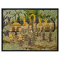 Batik painting, 'Temple Procession' - Signed Batik Painting of a Religious Scene from Bali