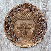 Wood relief panel, 'Berry Buddha' - Handcrafted Suar Wood Buddha Relief Panel from Bali