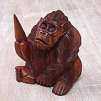 Wood sculpture, 'Orangutan' - Realistic Signed Hand Carved Sculpture of an Orangutan