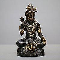 Bronze sculpture, 'Purifying Shiva' - Antiqued Bronze Sculpture of Hindu God Shiva from Bali