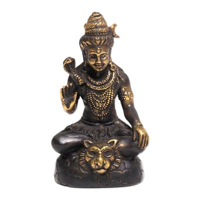Antiqued Bronze Sculpture of Hindu God Shiva from Bali
