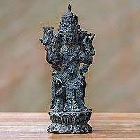Bronze statuette, 'Catur Muka' - Bronze Statuette with Four Faces from Indonesia