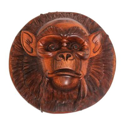 Wood mask, 'Alpha Chimpanzee' - Handcrafted Suar Wood Chimpanzee Mask from Bali