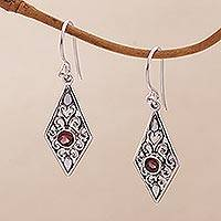 Garnet dangle earrings, 'Diamond Vines' - Handmade Garnet and Sterling Silver Dangle Earrings