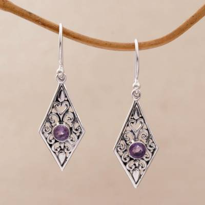 Amethyst dangle earrings, 'Diamond Vines' - Handmade Amethyst and Sterling Silver Dangle Earrings