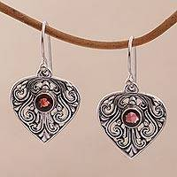 Garnet dangle earrings, 'Crest of Vines' - Handmade Sterling Silver and Garnet Dangle Earrings
