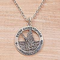 Sterling silver pendant necklace, 'Saint Christopher' - Saint Christopher Sterling Silver Pendant Necklace from Java