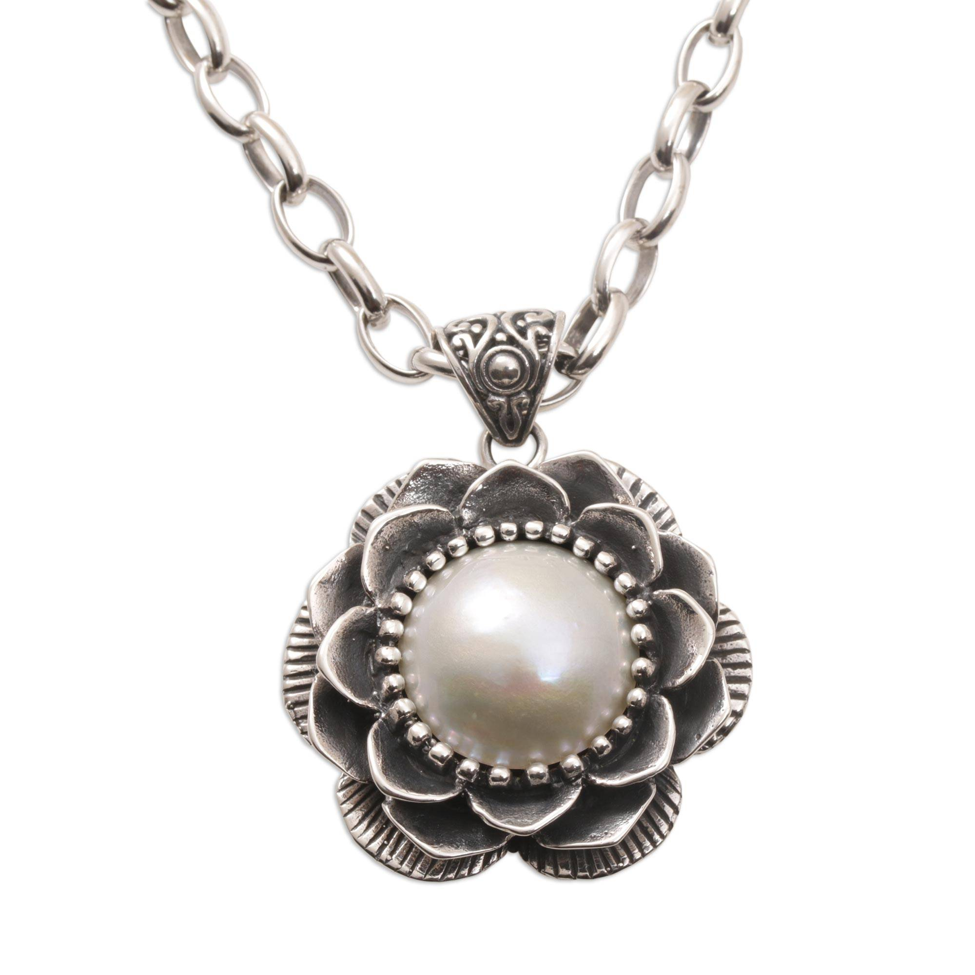 Unicef Market Cultured Pearl And Sterling Silver Floral Pendant