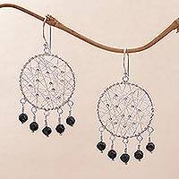 Onyx chandelier earrings, 'Hopeful Dreams' - Sterling Silver and Onyx Chandelier Earrings from Indonesia