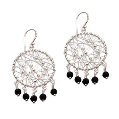Sterling Silver and Onyx Chandelier Earrings from Indonesia