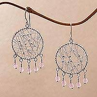 Rose quartz chandelier earrings, 'Hopeful Dreams' - Rose Quartz and Sterling Silver Chandelier Earrings