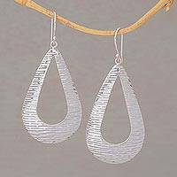 Sterling silver dangle earrings, 'Silver Gleam' - Handcrafted Sterling Silver Drop Shaped Dangle Earrings