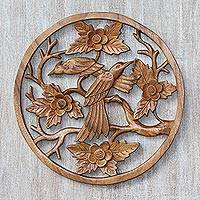 Wood relief panel, 'Songbird Couple' - Handcrafted Suar Wood Bird-Themed Relief Panel from Bali
