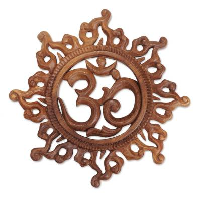 Wood relief panel, 'Blazing Om' - Flame Burst Motif Om Wall Art Made from Suar Wood Indonesia