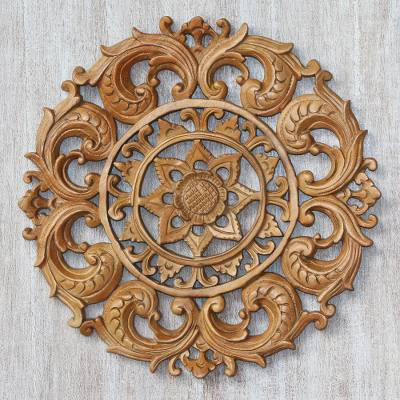 Wood relief panel, 'Lotus Heart' - Hand-Carved Suar Wood Lotus Flower Relief Panel from Bali