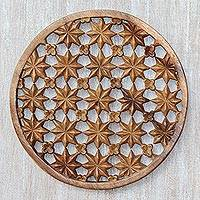 Wood relief panel, 'Floral Constellation' - Hand-Carved Suar Wood Star and Floral Relief Panel from Bali