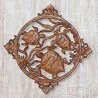 Wood relief panel, 'Seaweed Turtles'