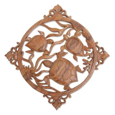 Wood relief panel, 'Seaweed Turtles' - Hand-Carved Suar Wood Turtle-Themed Relief Panel from Bali