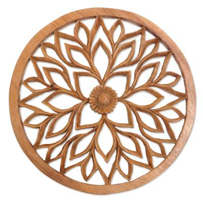Wood relief panel, 'Petaled Energy' - Handcrafted Suar Wood Floral Relief Panel from Bali