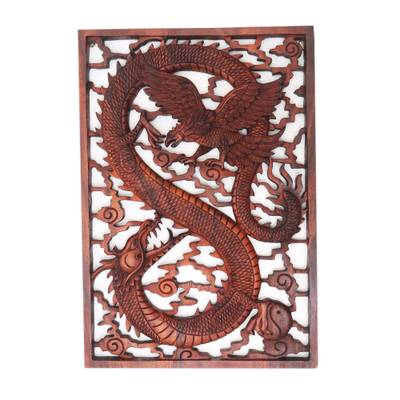 Handcarved Suar Wood Dragon and Garuda Bird Wall Panel, 'Mystic Battle'