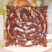 Wood wall panel, 'Raging Dragon Trio' - Handmade Suar Wood Panel of Fighting Dragons from Bali
