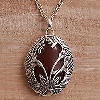 Carnelian pendant necklace, 'Evening Flowers' - Carnelian and 925 Silver Floral Pendant Necklace from Bali