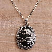 Onyx pendant necklace, 'Lemur Jungle' - Onyx and 925 Silver Lemur Pendant Necklace from Bali
