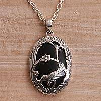 Onyx pendant necklace, 'Avian Curiosity' - Onyx and 925 Silver Bird-Themed Pendant Necklace from Bali