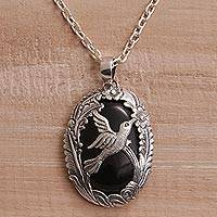 Onyx pendant necklace, 'Nature's Freedom' - Onyx and 925 Silver Bird-Themed Pendant Necklace from Bali