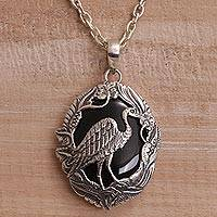 Onyx pendant necklace, 'Heron Haven' - Onyx and Sterling Silver Heron Pendant Necklace from Bali