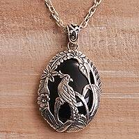 Onyx pendant necklace, 'Cockatoo Jungle' - Onyx and 925 Silver Cockatoo Pendant Necklace from Bali