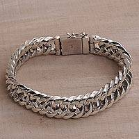 Sterling silver chain bracelet, 'Glimmering Links' - Artisan Crafted Sterling Silver Chain Bracelet from Bali