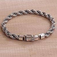 Sterling silver chain bracelet, 'Shining Bond' - Artisan Crafted Sterling Silver Chain Bracelet from Bali