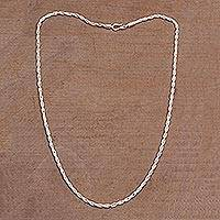 Sterling silver chain necklace, 'Luminous Sparkle' - 925 Sterling Silver Rope Chain Necklace from Bali