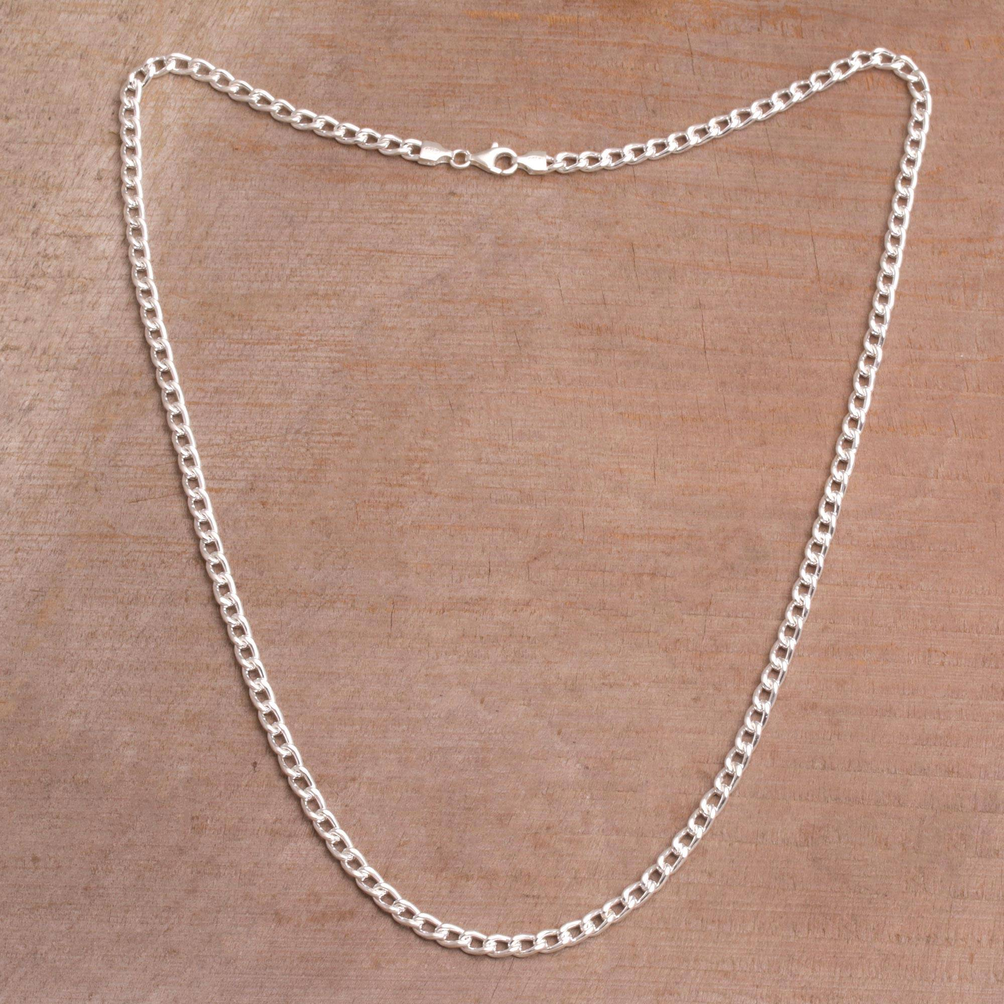 Sterling Silver Cuban Link Chain Necklace from Bali, 'Heavenly Links'