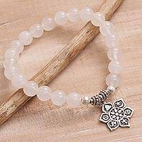 Moonstone beaded stretch bracelet, 'Unity Flower'