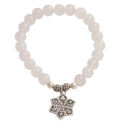 Moonstone beaded stretch bracelet, 'Unity Flower' - Moonstone Beaded Stretch Bracelet from Bali