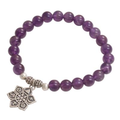 Amethyst beaded charm bracelet, 'Unity Flower' - Amethyst Religious Beaded Stretch Bracelet from Bali