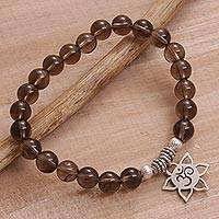 Smoky quartz beaded charm bracelet, 'One with Om' - Handmade Silver and Smoky Quartz Bracelet from Indonesia