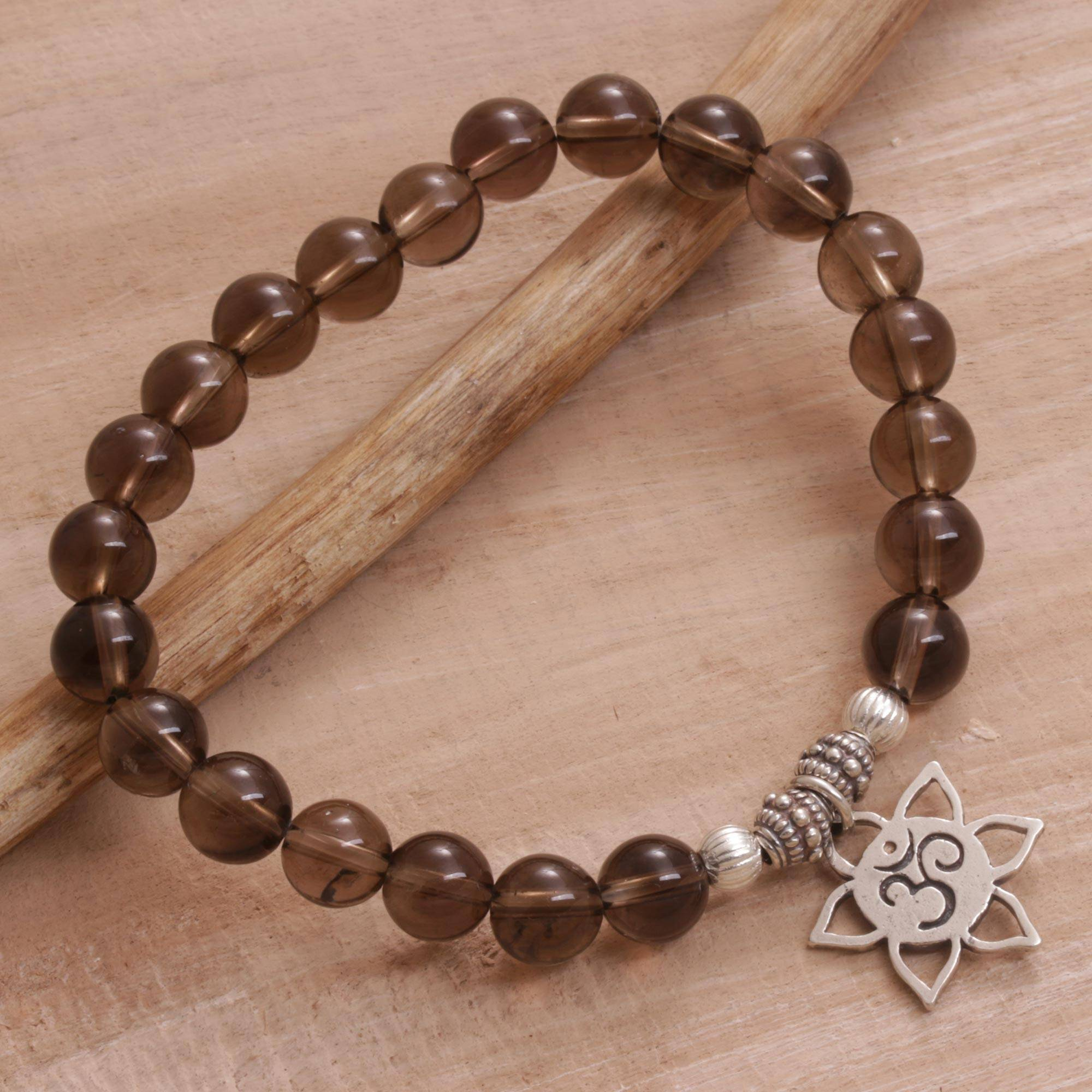 """Handmade Silver and Smoky Quartz Bracelet from Indonesia, """"One with Om"""""""