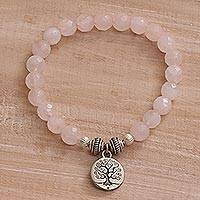 Rose quartz beaded stretch bracelet, 'Sunrise Tree' - Tree-Themed Rose Quartz Beaded Stretch Bracelet from Bali